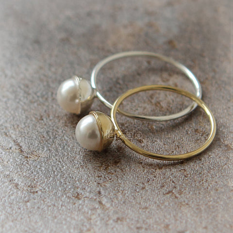 Pearl and Flower Resin Sphere Earrings