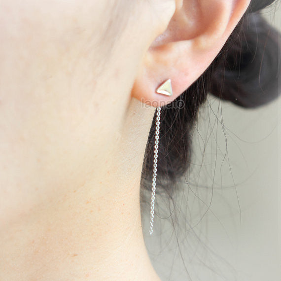 Tiny Triangle and String earrings