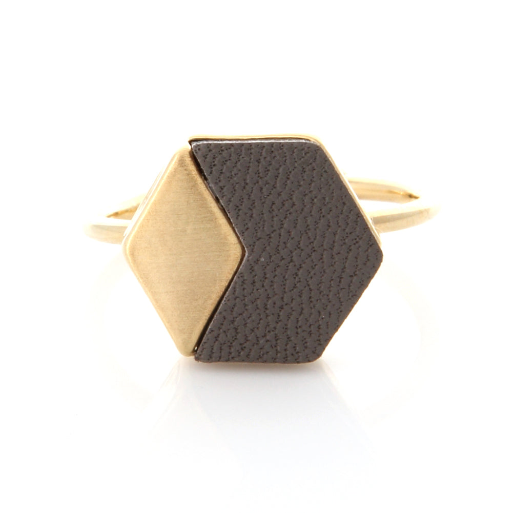 Geometric Hexagon Leather Ring
