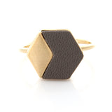 Geometric Hexagon Leather Ring Gray