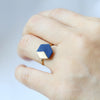 Geometric Hexagon Leather Ring Navy