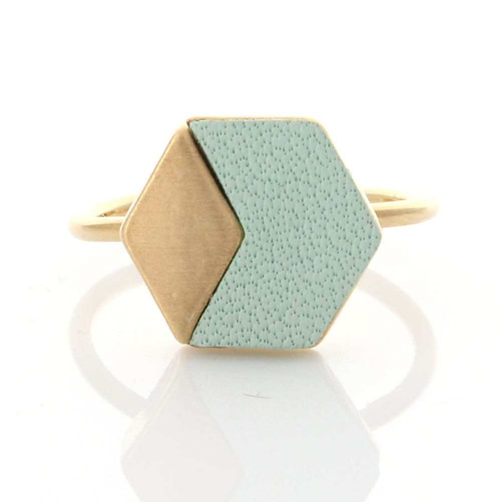 Geometric Hexagon Leather Ring Mint