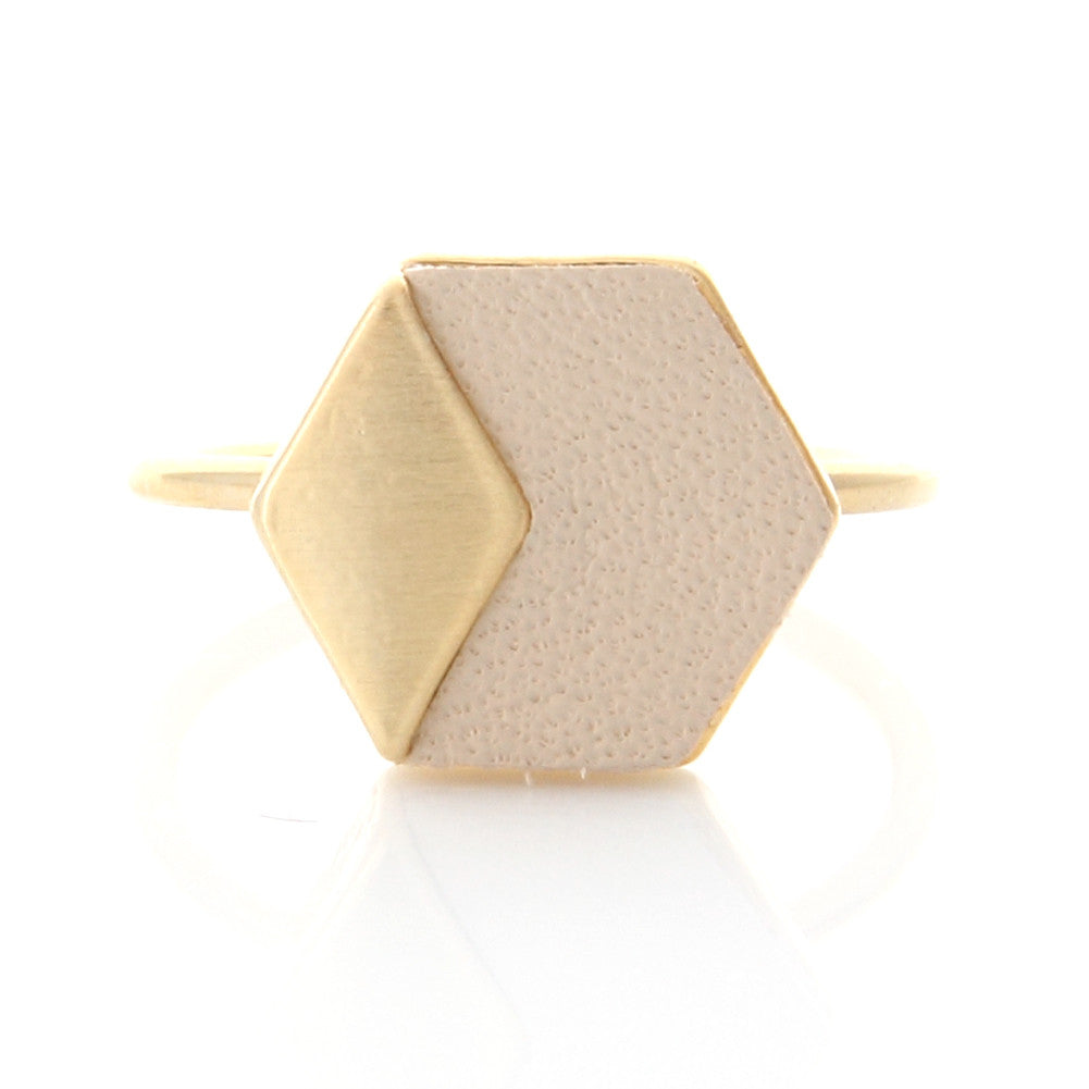 Geometric Hexagon Leather Ring Ivory