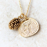 Pine Cone and Tree Ring Necklace