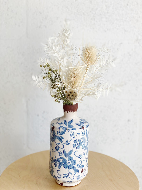 Vintage Blue Dried Flower Arrangement