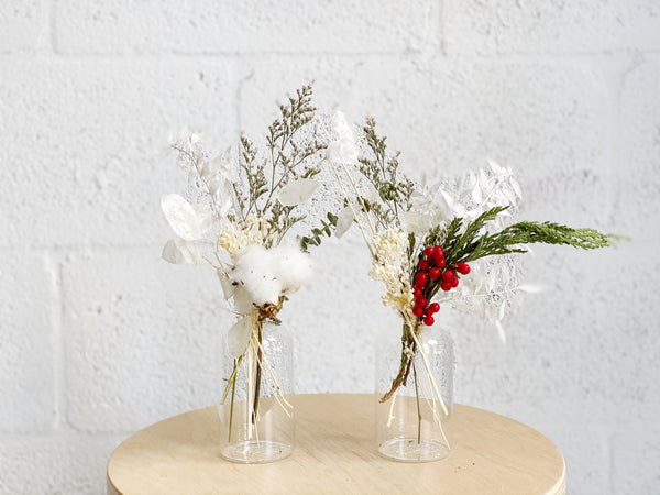 Holiday Dried Flower Bud Vase Arrangement - Shipping