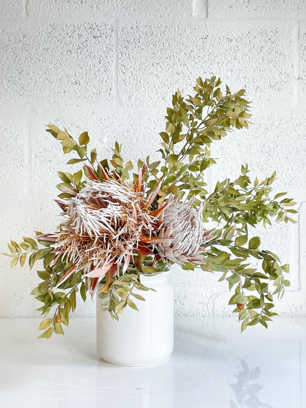King Protea & Ruscus for Vase