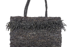 Amber Straw Beach Bag Black