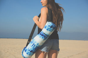 Canvas Yoga Mat Bag - Indigo Bamboo Print