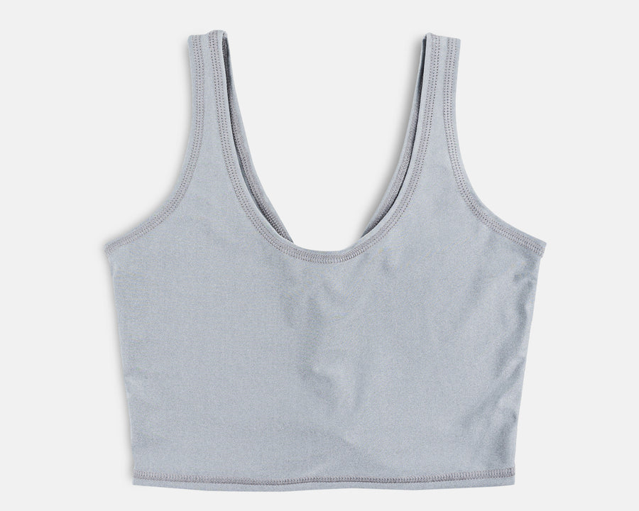 Rogue Crop Top in Shiny Sterling Grey