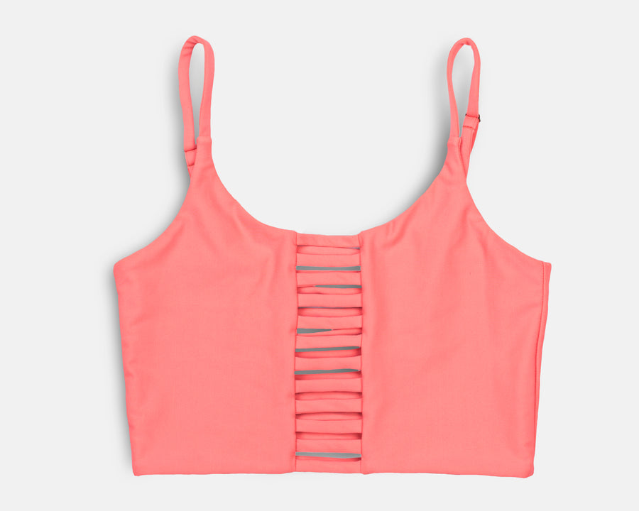 Klara Yoga Top in Hot Coral