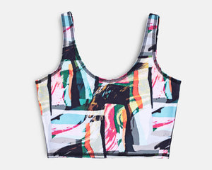 Jade Crop Yoga Top - Jungle Abstract print