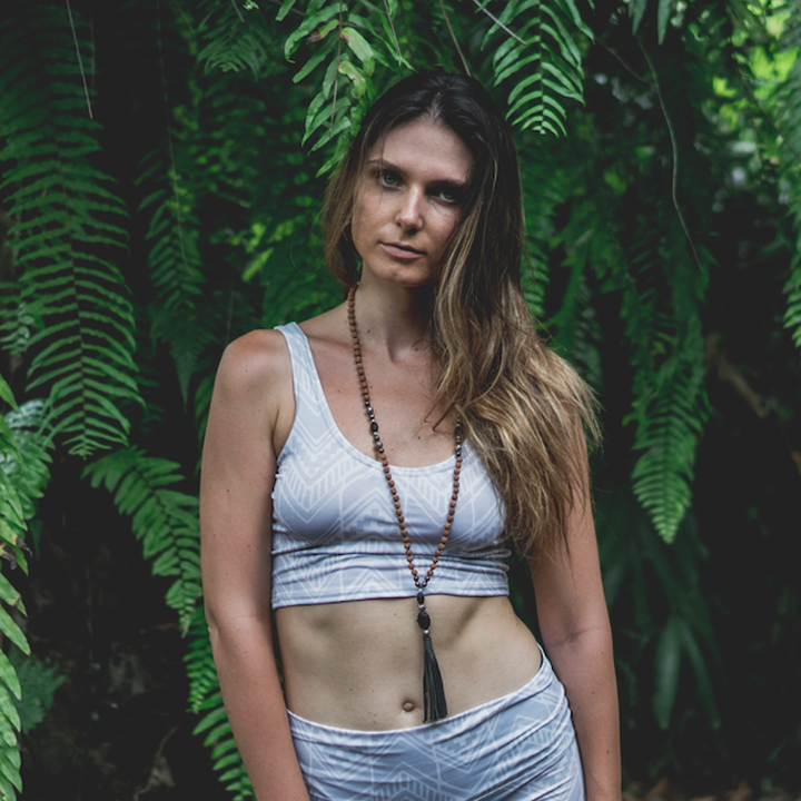Jade Crop Yoga Top - Boa print