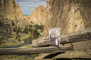 Old Trapper Old Fashioned Beef Jerky Bag at Smith Rock in Central Oregon