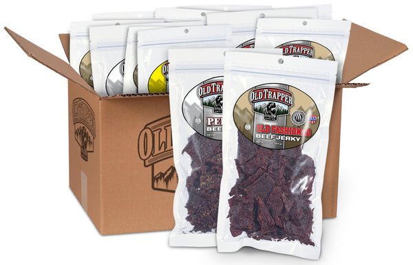 old trapper big beef box with 14 big bags of beef jerky