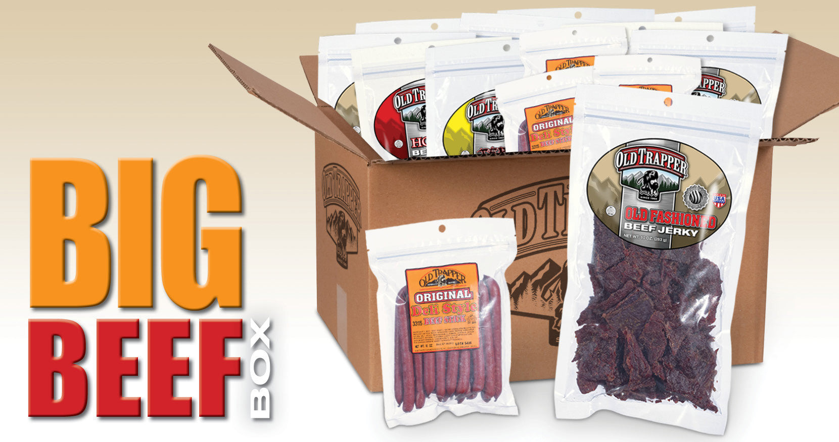 old trapper big beef box in front of snowy Christmas tree forest with 12 big bags of beef jerky and 4 big bags of deli sausage sticks on sale for $32 off