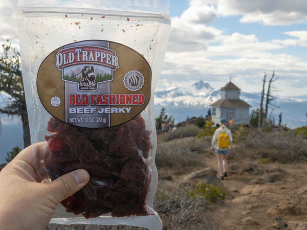 An Old Trapper Beef Jerky Bag Atop Black Butte in Central Oregon