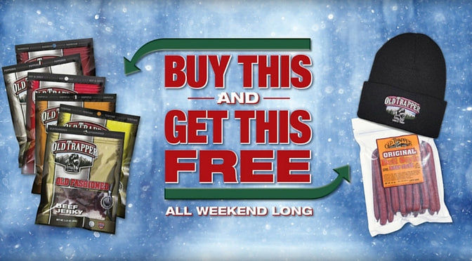 Black Friday Deals Cyber Monday Deals - Buy Beef Jerky Six-Pack and get a free bag of deli-style beef sticks and a knit stocking cap for free