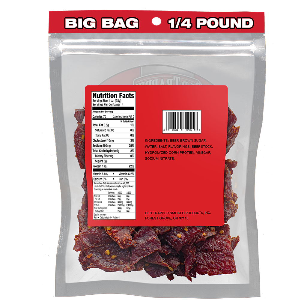Traditional Style Jerky - Hot & Spicy 1/4 lb bag