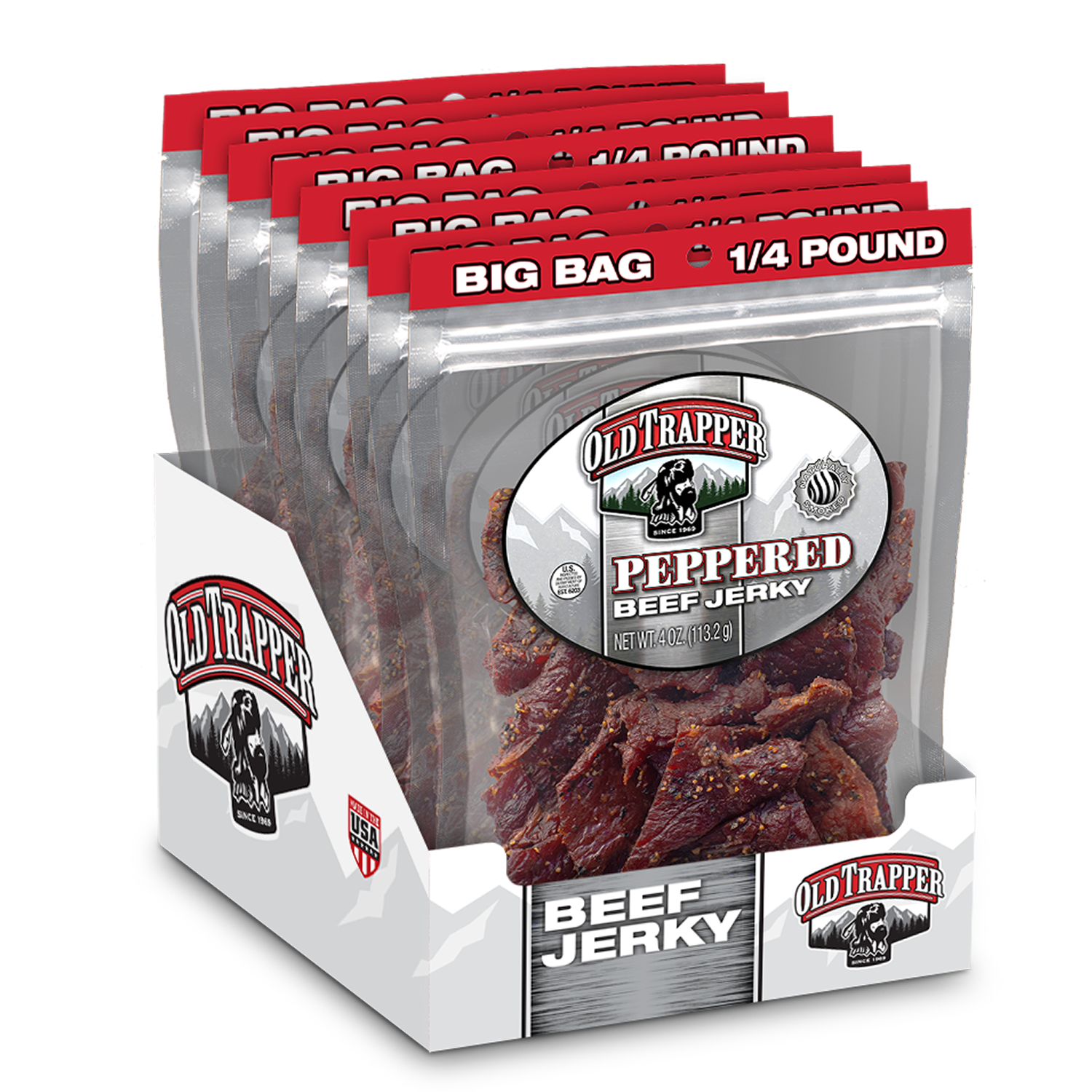 Case of 8 packages Peppered - 1/4 lb