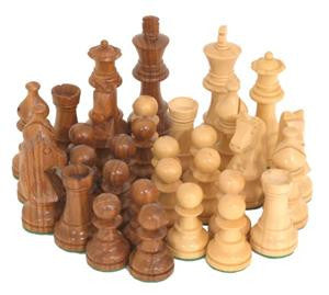 "Deluxe Rosewood/Boxwood Weighted Chess Pieces 3.5"" King Size"