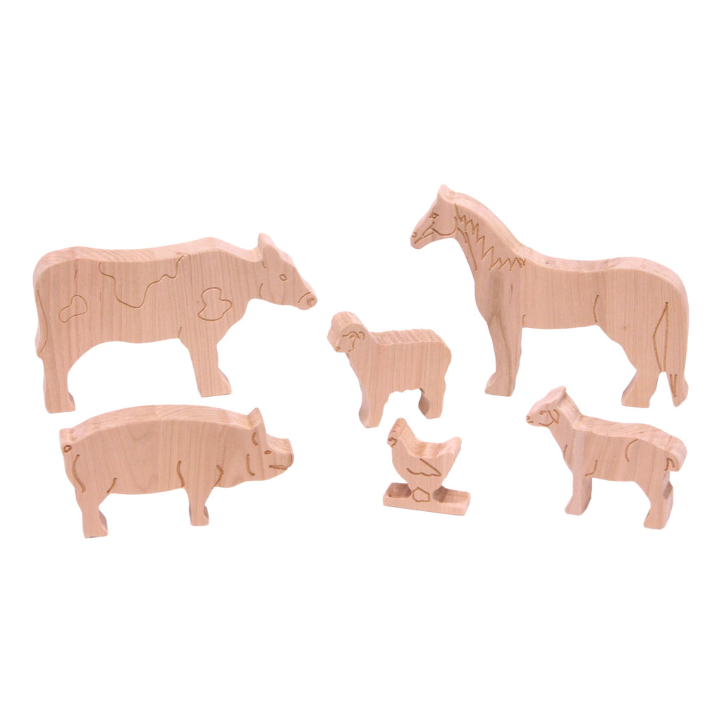 Deluxe Cherry-Wood Farm Animal Toy Set, Finish-Free