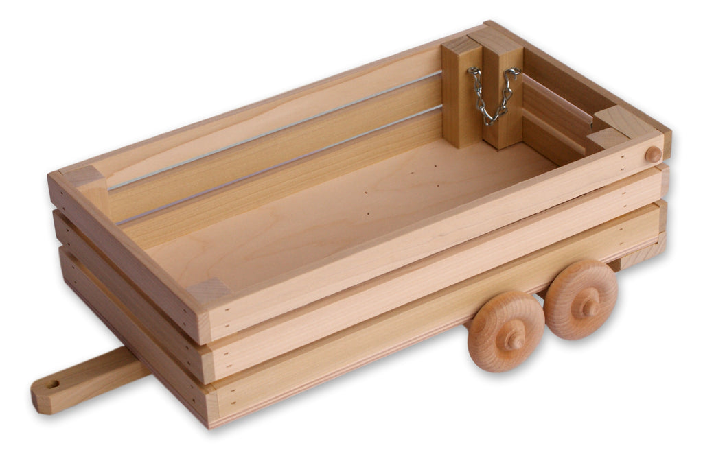 Amish-Made Wooden Toy Open Livestock Trailer