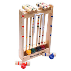 Amish-Made Deluxe Wooden 6 Player Croquet Game Set
