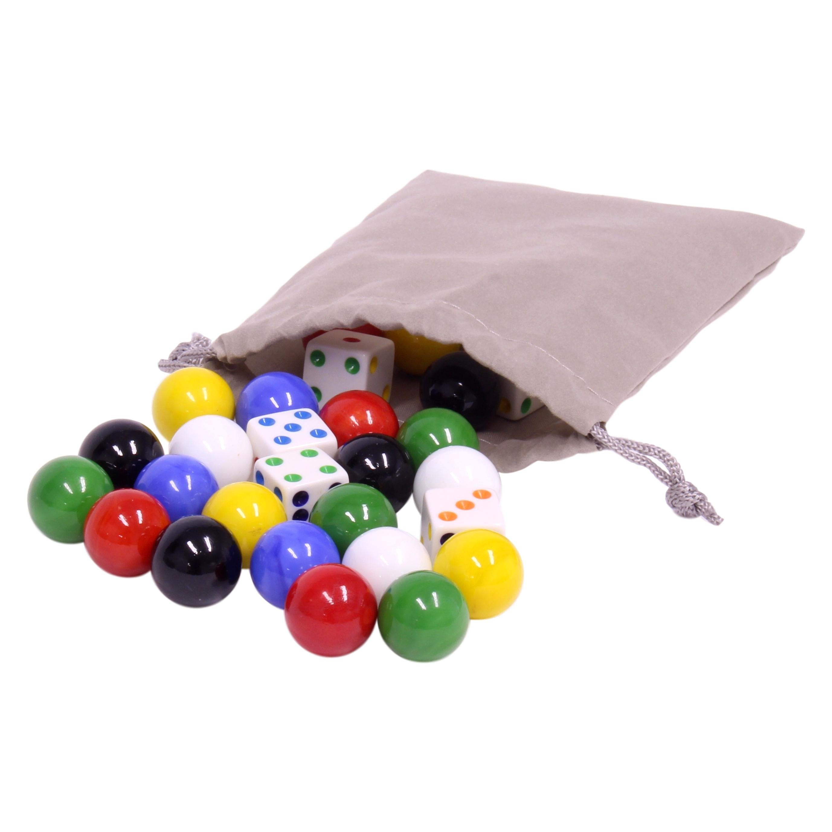 Game Bag of 24 Glass Marbles (17-18mm) and 6 Dice for Aggravation Game