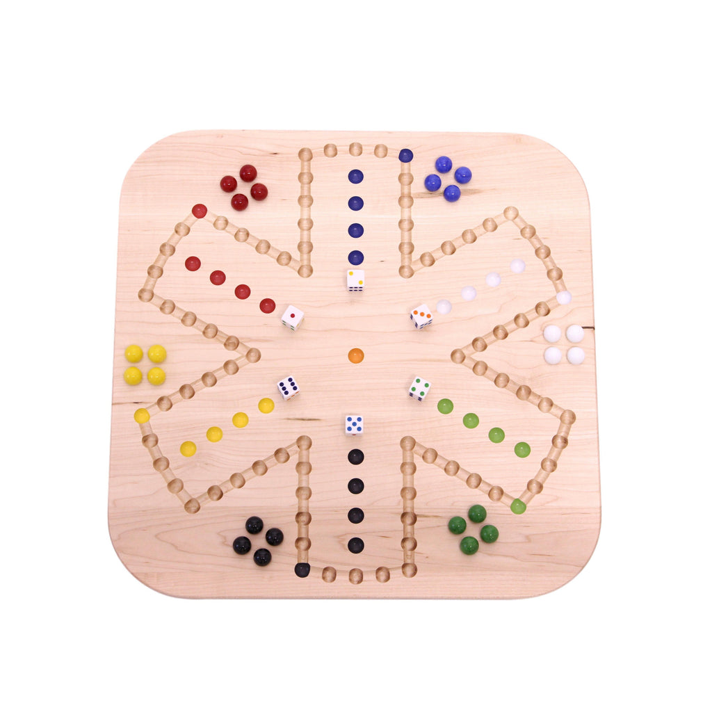 Wooden Maple Aggravation (Wahoo) Marble Game Board Set, Double-Sided