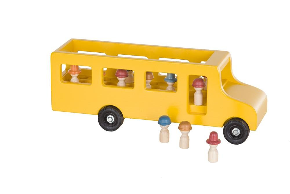 Amish-Made Wooden School Bus Toy