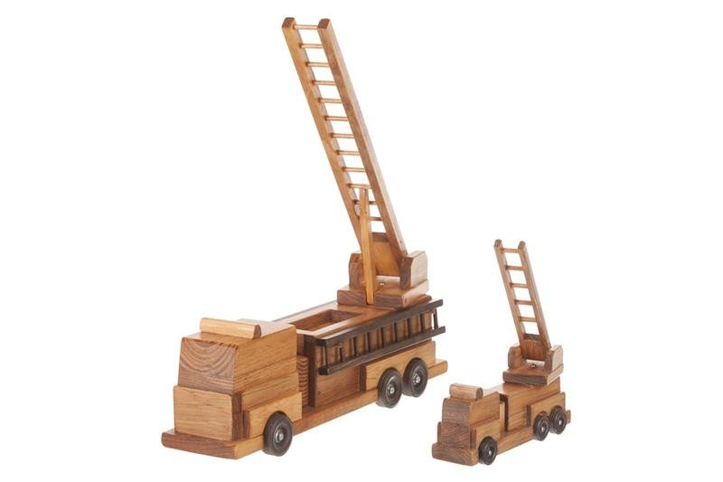 Amish-Crafted Wooden Ladder Fire Truck Toy