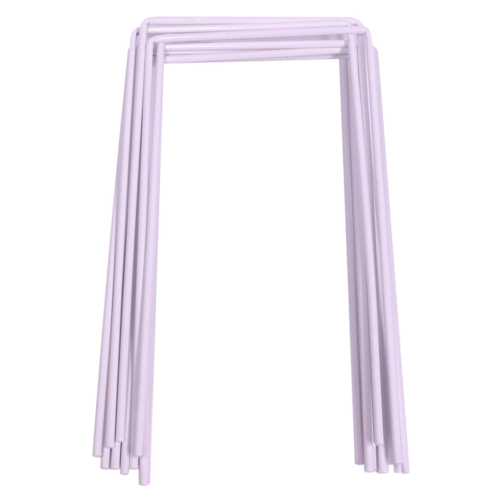 Set of 9 White Croquet Wickets, Sturdy 7 Gauge Replacement Square Hoops