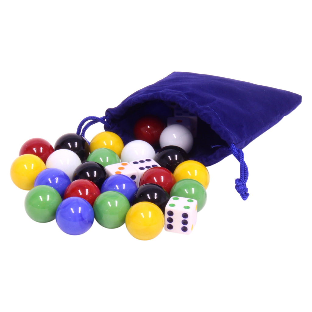 AmishToyBox.com Game Bag of 24 Large Glass Marbles (22mm Diameter) and 6 Dice for Aggravation Game