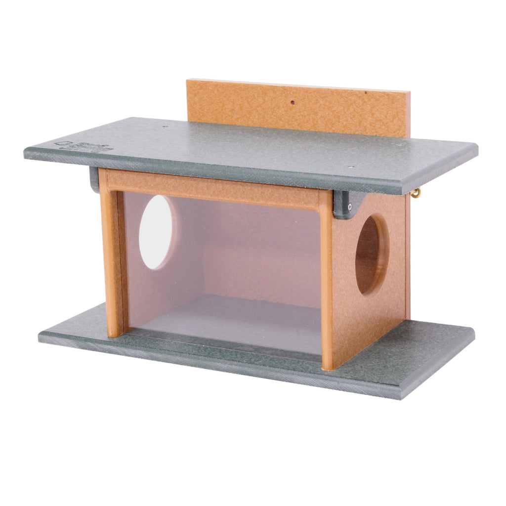 Amish-Made Squirrel Corn Feeder, Poly-Wood Post-Mount Feeder for Squirrels