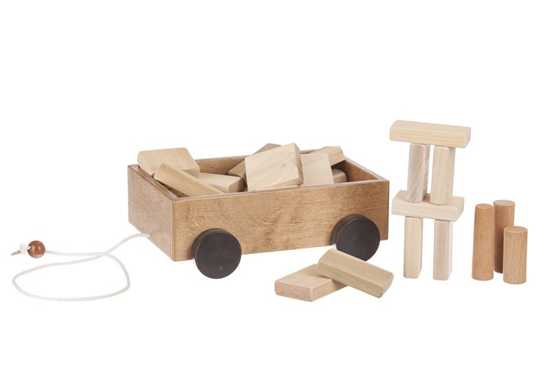 Wooden Toddler Pull Wagon Toy with Wood Building Blocks