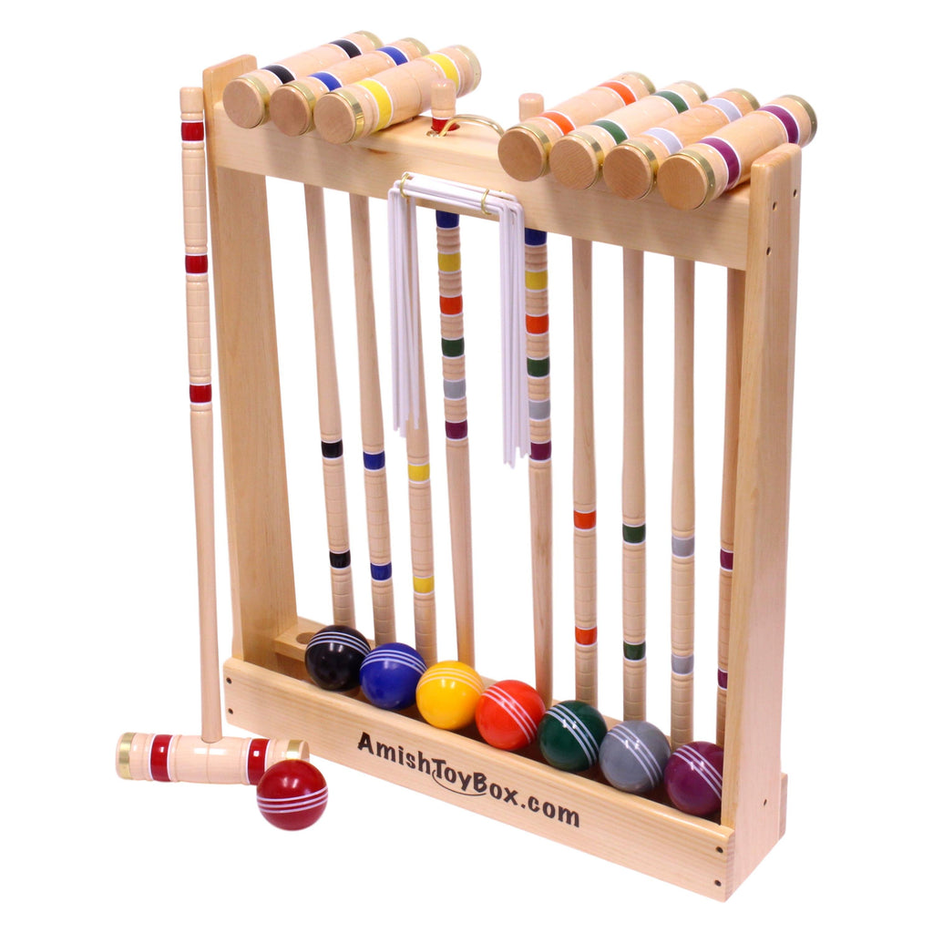 Amish-Made Deluxe Wooden 8 Player Croquet Game Set