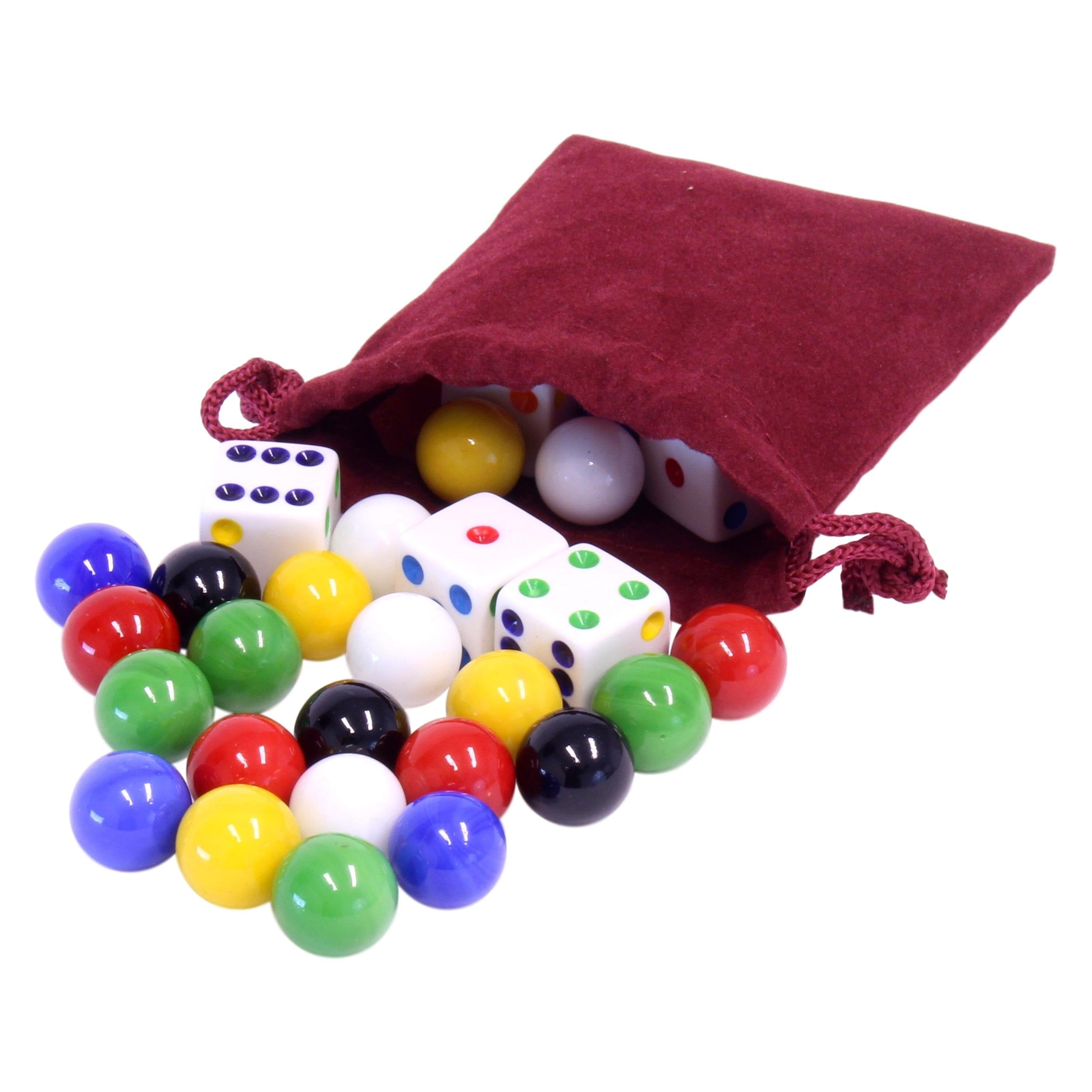 Game Bag of 24 Glass Marbles (14mm) and 6 Dice for Aggravation Game