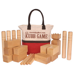 Amish-Made Deluxe Maple Hardwood Kubb Game with Protective Finish