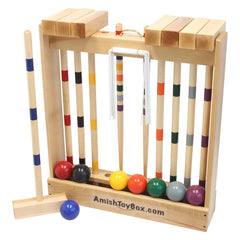 Family Tradition 8-Player Wooden Croquet Set, Amish Made