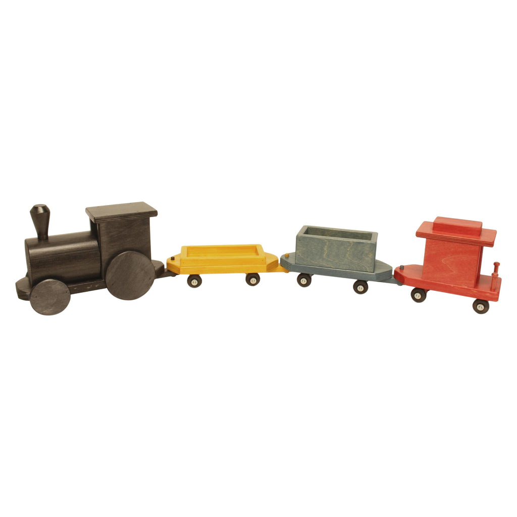 "Amish-Made Large Wooden 40"" Freight Train Toy Set, Kid-Safe Finish"