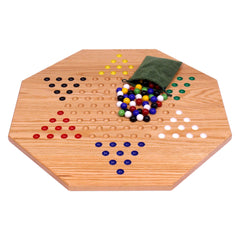 "Hand-Painted Oak Wooden Chinese Checkers Board Game, 19"" Wide"