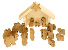Amish-Made 14 Piece Wooden Nativity Manger Scene Set