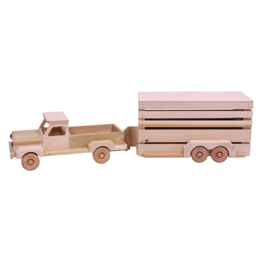 Amish-Made Wooden Toy Pickup & Horse Trailer Set
