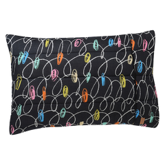Kip & Co Chalk Board Black Quilted Single Pillowcase