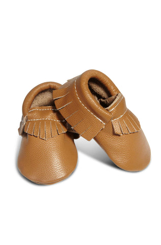 Leather Baby Moccasins - Caramel