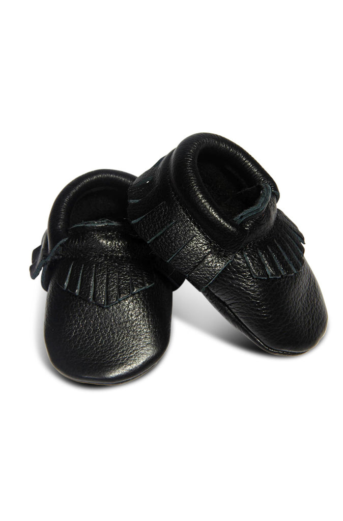 Leather Baby Moccasins - Black - Tui B - 1