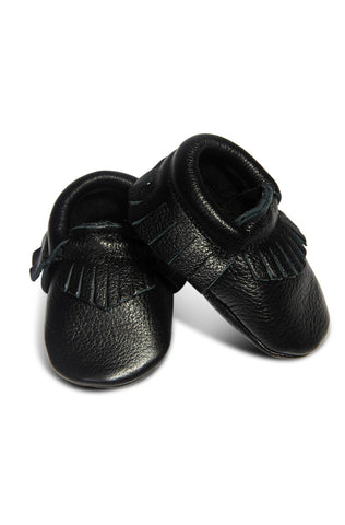Leather Baby Moccasins - Black
