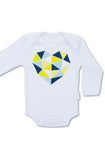 Geo Heart Yellow & Navy Bodysuit - Tui B - 1