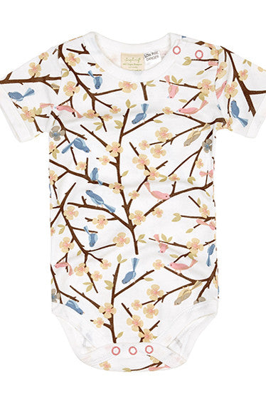 Short Sleeve Bodysuit - Bird In Tree - Tui B